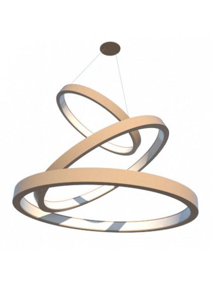 Lustre Pendente de Madeira com Anéis de LED-Cappuccino