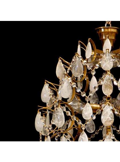 Lustre Colmeia Médio com cristais de Rocha | CLM-101-5CR-Branco - Cristal de Rocha