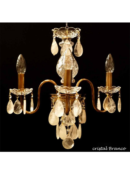 Lustre Bohemia com Cristal de Rocha | CT-119-3-CR-Branco - Cristal de Rocha