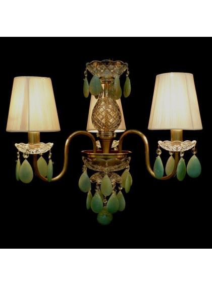 Lustre Bohemia com Cristal de Rocha | CT-119-3-CR-Verde - Cristal de Rocha