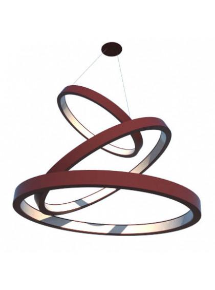 Lustre Pendente de Madeira com Anéis de LED-Marsala