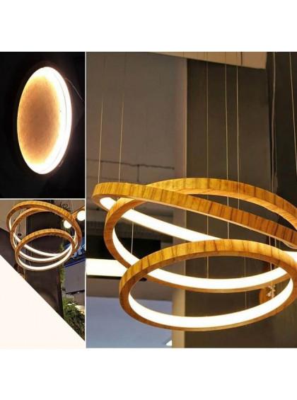 Lustre Pendente de Madeira com Anéis de LED-Madeira Freijo