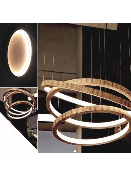 Lustre Pendente de Madeira com Anéis de LED-Madeira - Imbuia