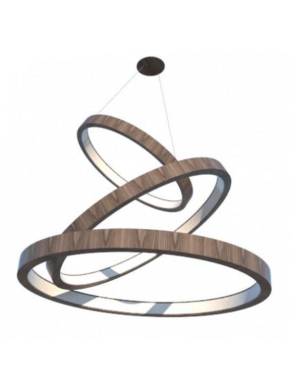 Lustre Pendente de Madeira com Anéis de LED-Madeira Nogueira