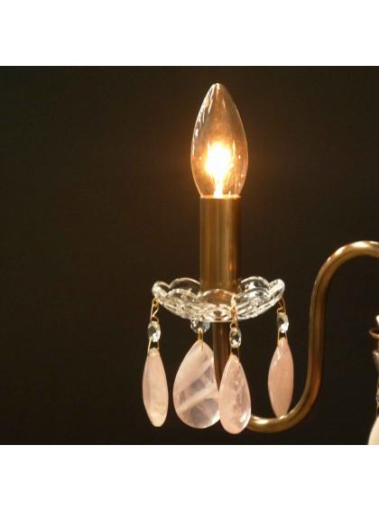Lustre Bohemia com Cristal de Rocha | CT-119-3-CR-Rosa - Cristal de Rocha