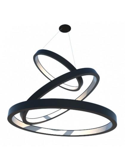 Lustre Pendente de Madeira com Anéis de LED-Preto
