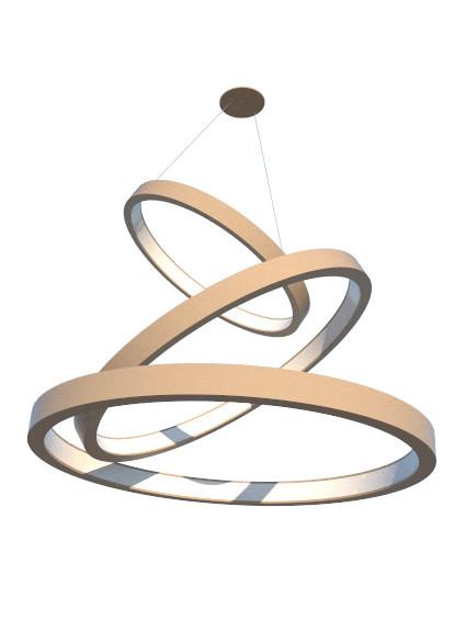 Lustre Pendente de Madeira com Anéis de LED