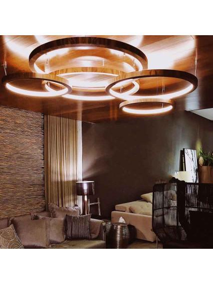 Pendente de Madeira Anel LED