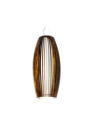Pendente de Madeira Cilíndrico com cúpula de Tecido